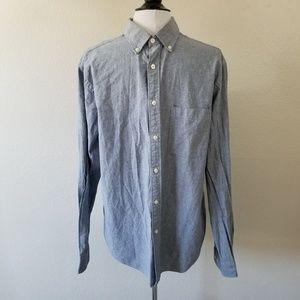 Merona Linen Blue Button-Down Collared Shirt L